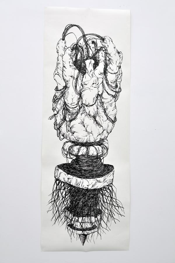 110x200cm / papier 210gr / encre de chine / pinceau / photographie : Julien Robiche