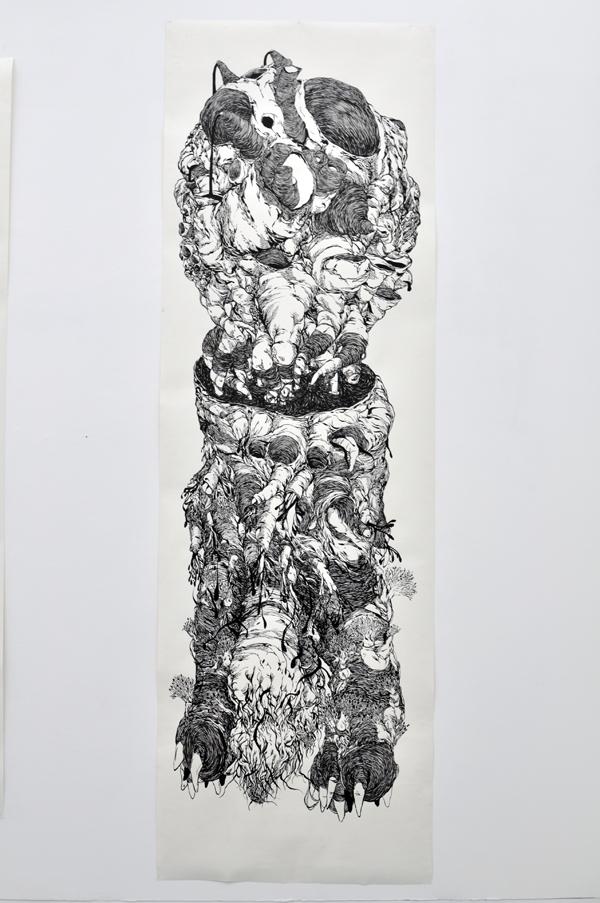 110x220cm / papier 210gr / encre de chine / pinceau / photographie : Julien Robiche