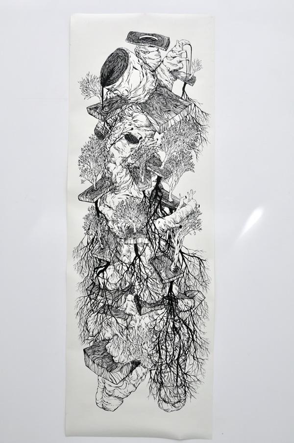 110x225cm / papier 210gr / encre de chine / pinceau / photographie : Julien Robiche