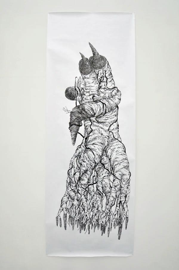 90x200cm / papier 110gr / encre de chine / pinceau / photographie : Julien Robiche