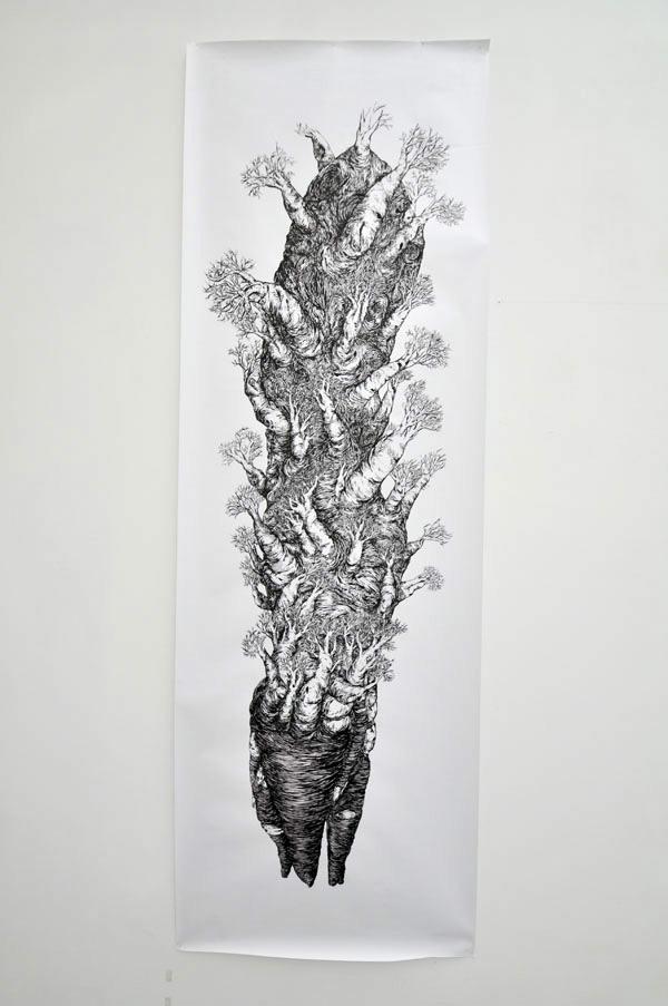 90x220cm / papier 110gr / encre de chine / pinceau / photographie : Julien Robiche