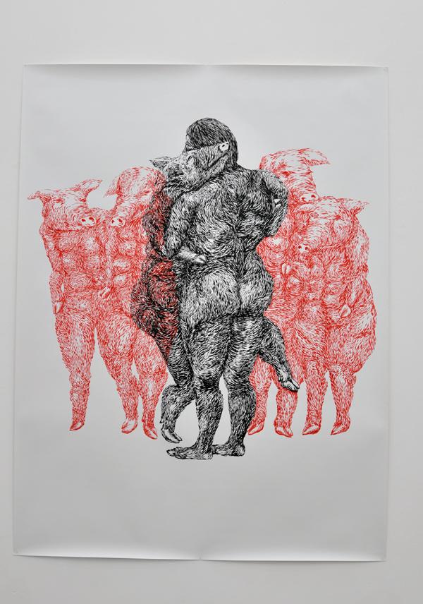 151x220cm / en.chine & rouge écarlate / photographie Julien Robiche